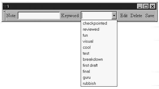 Image: Template-generated menu popup for the NoteTaker toolbar.