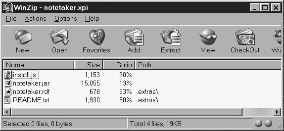 Image: XPI archive holding the full NoteTaker distribution.