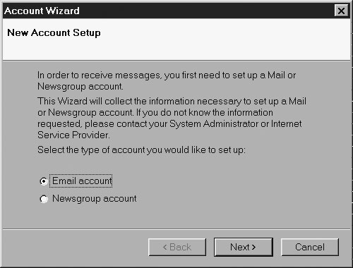 Image: Email account creation system based on the <wizard> tag.