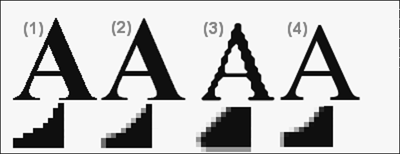 Image: Four Mozilla glyphs for the letter A across Windows and UNIX.