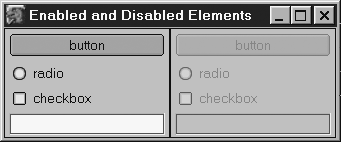 Image: Enabled and disabled simple form controls.